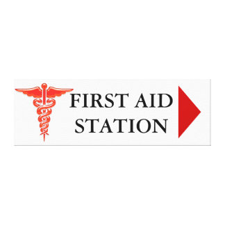 First aid direction sign canvas print