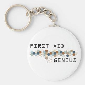 First Aid Genius Basic Round Button Keychain