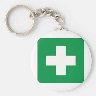 First aid basic round button keychain