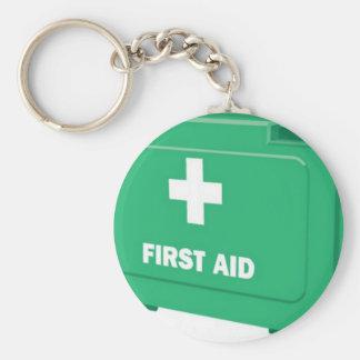 First aid kit design basic round button keychain