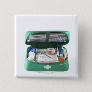 First aid kit. pinback button