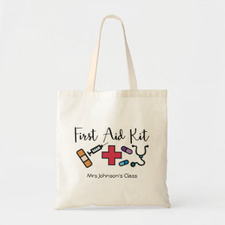First Aid Medicine Kit Personalized Teacher Tote Bag