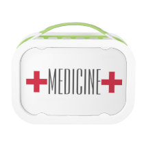 First Aid Medicine Kit Red and White Symbol Lunch Box