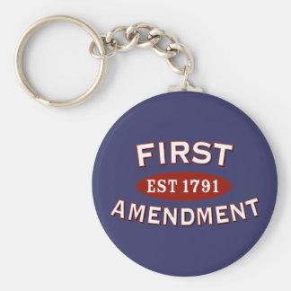 First Amendment Basic Round Button Keychain