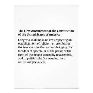 First Amendment of the Constitution Letterhead