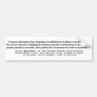 First Amendment of the United States Constitution Bumper Sticker