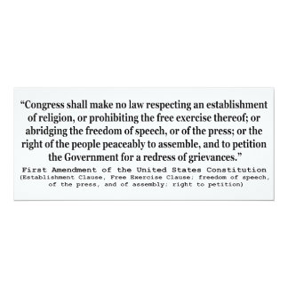 First Amendment of the United States Constitution Card