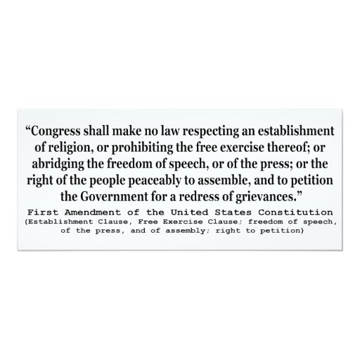 First Amendment of the United States Constitution 4x9.25 Paper Invitation Card