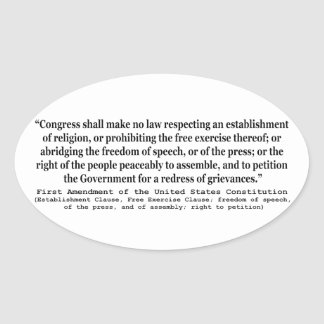 First Amendment of the United States Constitution Oval Sticker