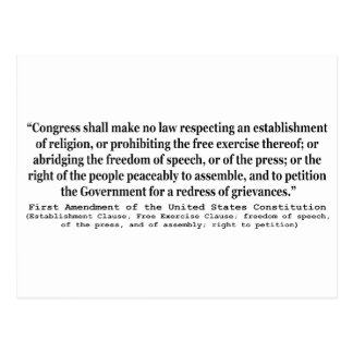 First Amendment of the United States Constitution Postcard