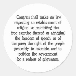 First Amendment Classic Round Sticker