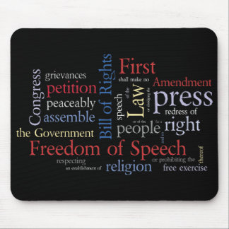 First Amendment Word Cloud Freedom of Speech Mouse Pad