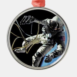 First American Spacewalker Round Metal Christmas Ornament