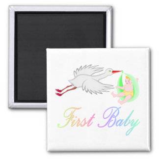 First Baby (Stork) 2 Inch Square Magnet