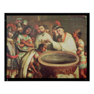 First Baptism of the Indians by the Dominicans Poster