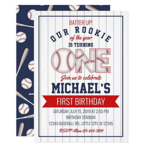 First Baseball Birthday Invitation