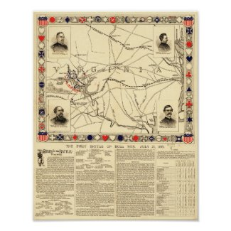First Battle of Bull Run - Civil War Panoramic 10 Poster