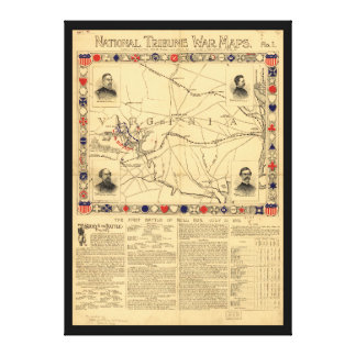 First Battle of Bull Run Map July 21 1861 Canvas Print