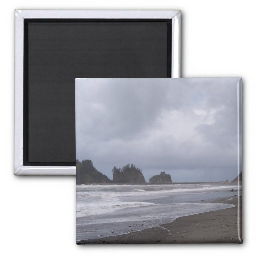 First Beach At LaPush 2 Inch Square Magnet