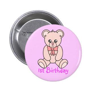 First  Bear Birthday (girl) Button