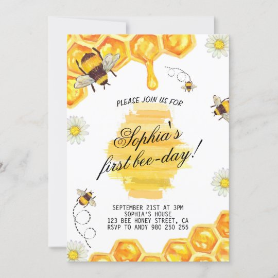 First Bee-Day Bee Honey Bee 1st Birthday Party Invitation