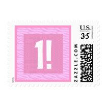 First Birthda Pink Zebra  Birthday Stamp