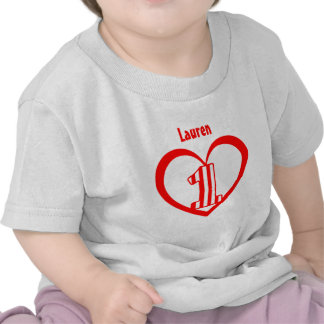 First Birthday 1 Year Old Striped Number Heart V7 Tee Shirts