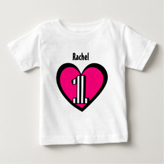 First Birthday 1 Year Old Striped Number Heart V9 Baby T-Shirt