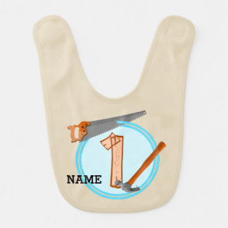 First Birthday 1 year old Tools Construction Party Baby Bib