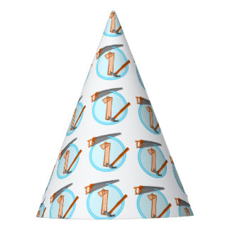 First Birthday 1 year old Tools Construction Party Party Hat