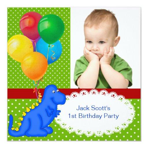 First Birthday 1st Dinosaur Green Blue Boy Card