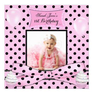 First Birthday 1st Girl Pink Baby Polka Dots Personalized Invites