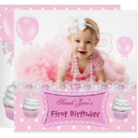 Cupcake birthday invitations announcements zazzle first birthday 1st girl pink cupcakes baby filmwisefo Gallery