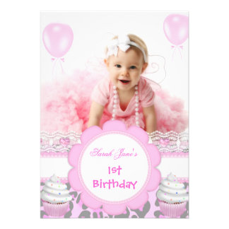 First Birthday 1st Girl Pink Cupcakes Baby Leopard Invitations