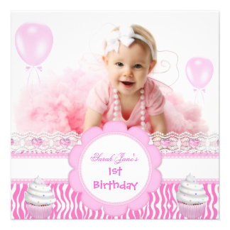 First Birthday 1st Girl Pink Cupcakes Baby Zebra Personalized Announcements