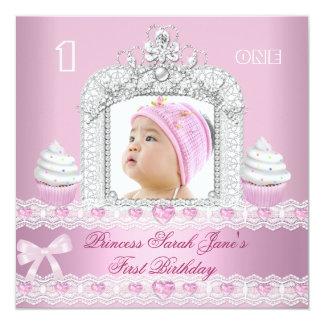 First Birthday 1st Girl Pink Princess Tiara 5.25x5.25 Square Paper Invitation Card