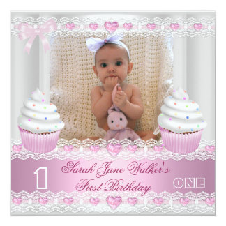 First Birthday 1st Girl White Pink Cupcake Baby 2 5.25x5.25 Square Paper Invitation Card