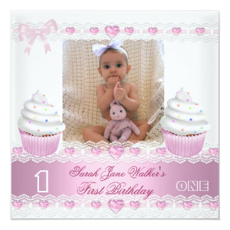 First Birthday 1st Girl White Pink Cupcake Baby 3 Announcement