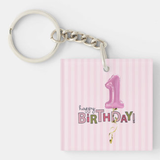 First Birthday 2 Single-Sided Square Acrylic Keychain