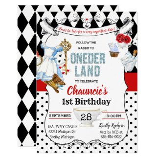 First Birthday Alice in Wonderland Invitation