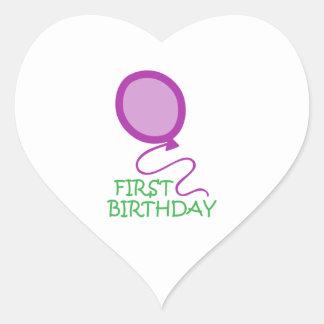 FIRST BIRTHDAY APPLIQUE HEART STICKERS