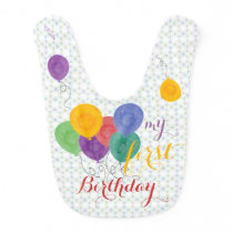 First Birthday Balloons (purple/yellow) Bib