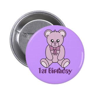 First Birthday Bear Button