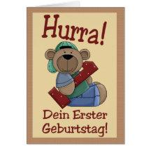 First birthday bear greeting card