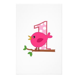 First Birthday Birdie Stationery