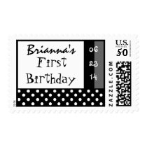 First Birthday Black White Polka Dot Custom Name Postage