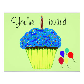 First Birthday Blue Cupcake Balloons Invitation
