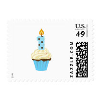 First Birthday blue cupcake with one candle stamp