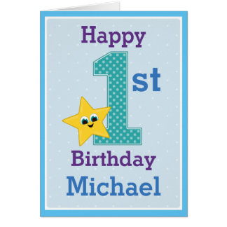 First Birthday Boy, Blue with Yellow Star Card