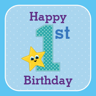 First Birthday Boy Blue Yellow Star Wrapping Paper